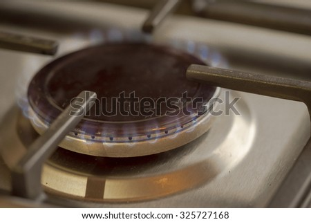 Bluish flames of a stove natural gas burner - stock photo
