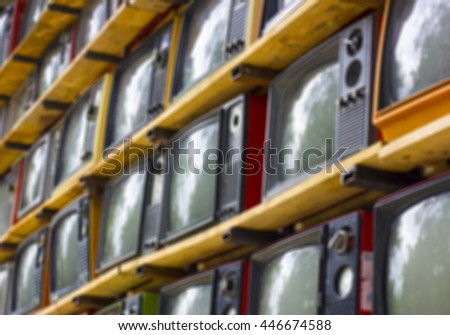 Blur A wall of old vintage tube televisions
