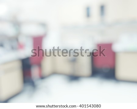 Blur abstract background laboratory interior room out of focus with nobody, template for a poster, webpage or leaflet. Blurry view of empty lab top or bench against blurred workplace laboratory  - stock photo