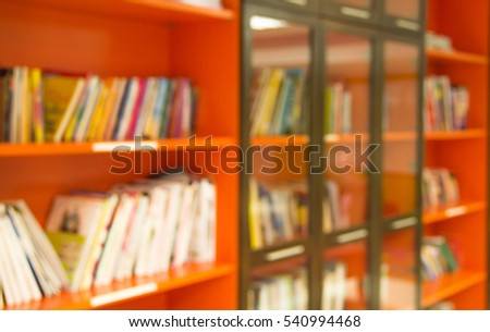 Blur abstract background of book on bookshelves