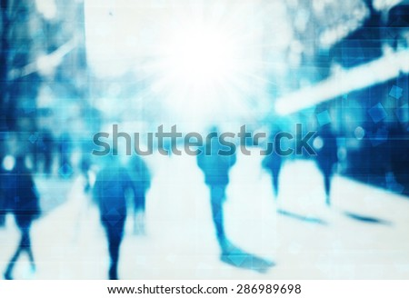 blur abstract people technology background - stock photo