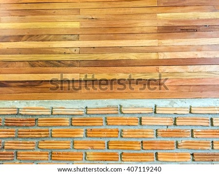blur background and interior with brick gray wall and wood floor background    - stock photo