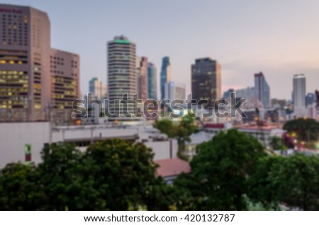 Blur Background, Bangkok city in sunset.