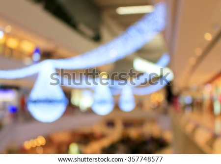 Blur background : Decoration light at festival area in department store with bokeh light