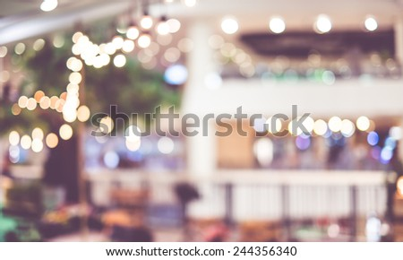 Blur background : Decoration light at festival area in department store with bokeh light,vintage filter - stock photo