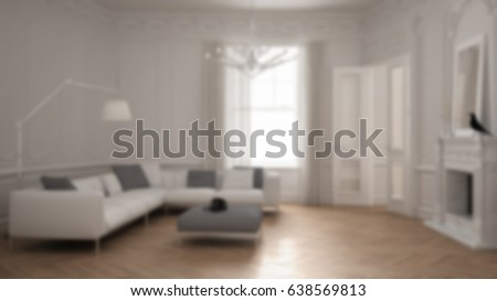 Blur background interior design, modern minimalist sofa in classic vintage  living room with fireplace,