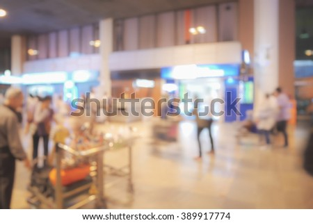 Blur background meeting point at airport - stock photo