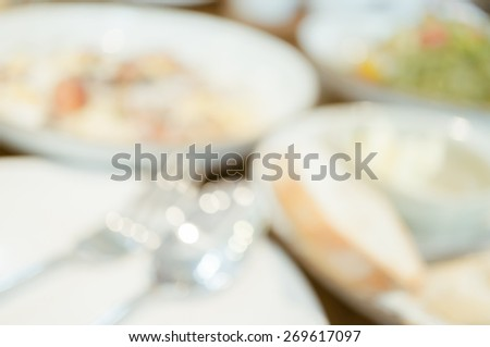 Blur background of breakfast meal