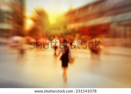Blur background of pedestrian in city.  - stock photo