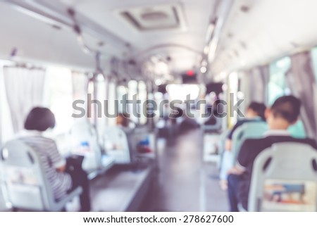 blur background : people in public transportation bus,abstract background. - stock photo