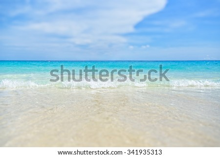 Blur background sea and beach beautiful landscapes at Koh Miang island under blue sky during summer in Mu Ko Similan National Park, Phang Nga province, Thailand