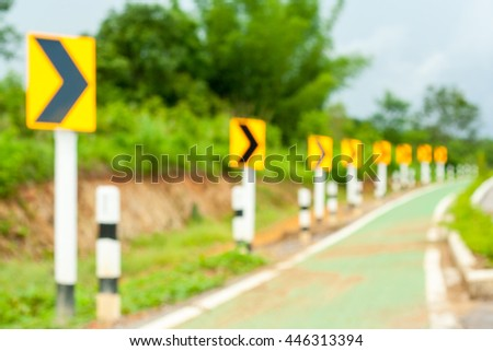 Blur background, Signal turn right on bicycle's road in Countryside. blurred focus.  - stock photo