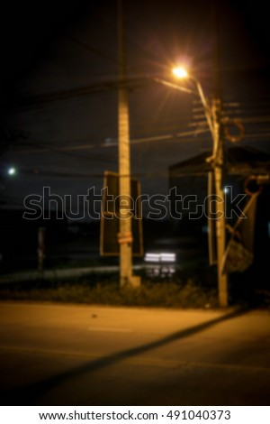 Blur background Street light at night.