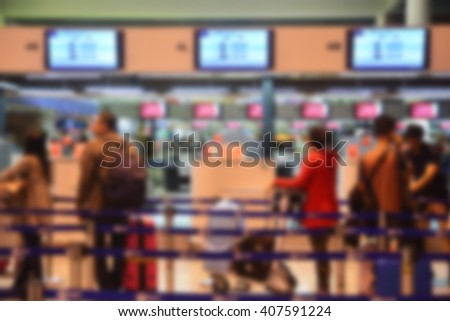 Blur background : Terminal Departure Check-in at airport  - stock photo