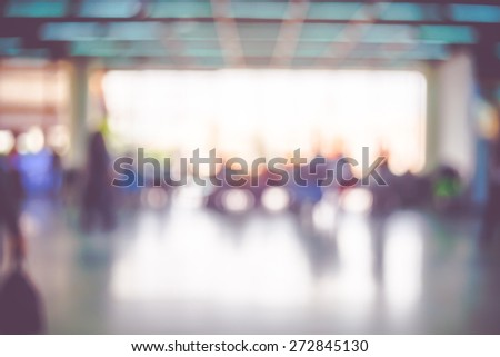 Blur background : Terminal Departure Check-in at airport with bokeh - stock photo
