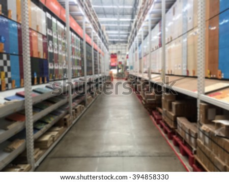 blur background tiles zone, DIY and home improvement tools and supplies superstore - stock photo