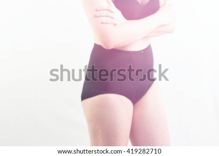 blur background Woman Diet and weight loss concept - stock photo
