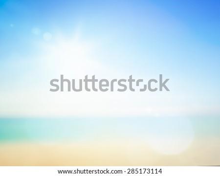 Blur beach. Vintage Style Break Ocean Terrace Relax View Sun Water Wave Sea Hot Sand Surf Dream Rest Enjoy Earth Fresh Resort Travel Calm Cloud Aqua Park idyllic White Ray Bath Bokeh Abstract concept - stock photo