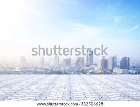 Blur big city at rooftop of hotel. Aerial Amazing Light Travel Asia Dinner Date Tower Town Food Capital History Bar Sun Enjoy Luxury Drink Relax High Loggia Couple Love Border Service Veranda concept. - stock photo