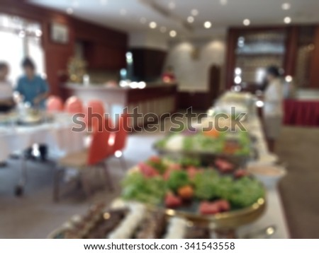 blur blurred buffet in cafeteria or restaurant  - stock photo
