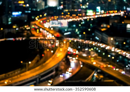 Blur bokeh of Bangkok city expressway  ,  Beautiful night