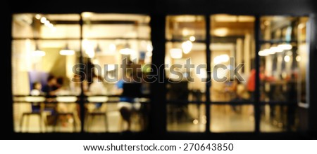Blur cafe in evening - stock photo