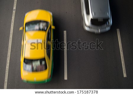 Blur car on highway Bangkok Thailand  - stock photo