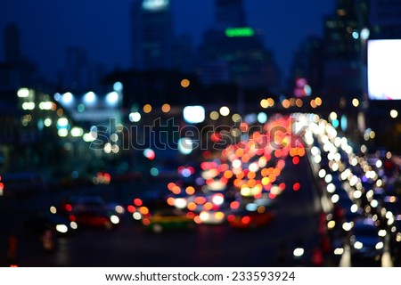 blur city light from car traffic background  - stock photo
