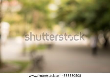 blur city park bokeh background - stock photo
