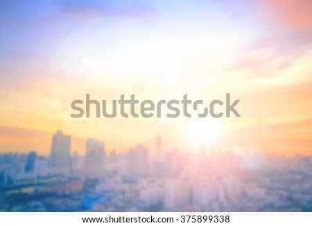Blur colorful big city concept. Aerial Amazing Beauty Warm Light Hotel Resident Asia Industry Market Soft Town Urban Glow Sun Hope Office Nature Night Horizon Planing Capital Backdrop Economy Abstract - stock photo
