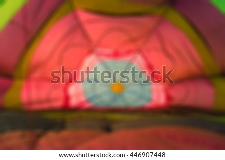 Blur colorful hot air balloon view from inside - stock photo
