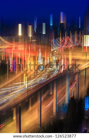 blur colors on the road intersection,abstract background of the overpass