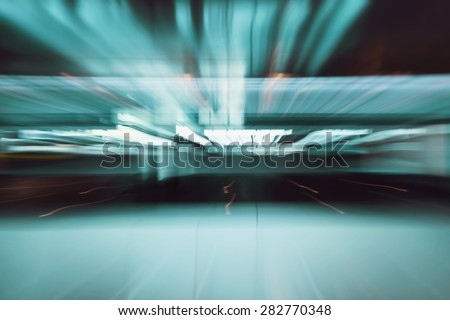 Blur cool abstract background with motioned zoom lights. - stock photo