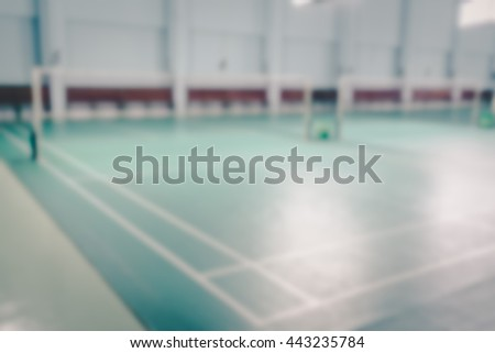 Blur empty badminton court for the competing ,  vintage tone - stock photo