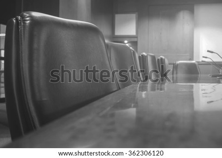 Blur empty conference room in Back and white - stock photo