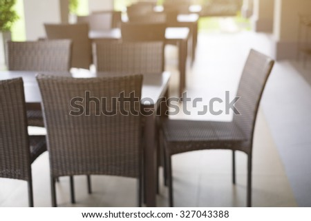 Blur empty seat and table in cafeteria or restaurant  or dining room of hotel
