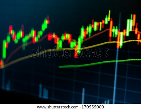 Blur Focus Stock Market Chart on led screen - stock photo