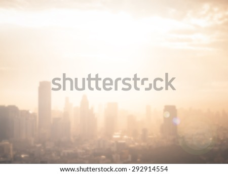 Blur gold big city concept. Aerial Amazing Beauty Light Hotel Resident Asia Industry Market Soft Town Urban Glow Sun Hope Office Nature Night Horizon Planing Capital Backdrop Economy Blurry Abstract. - stock photo