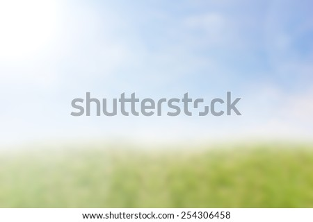 Blur Grass patch on the sky background. For the products according to your preferences. - stock photo