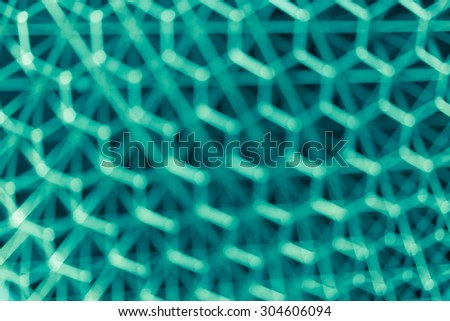 blur hexagon geometry structure abstract for background, green color tone - stock photo