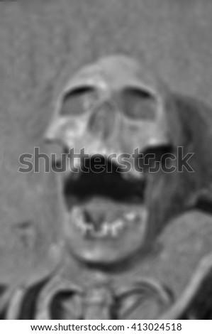 Blur  Human skeleton  black and white - stock photo