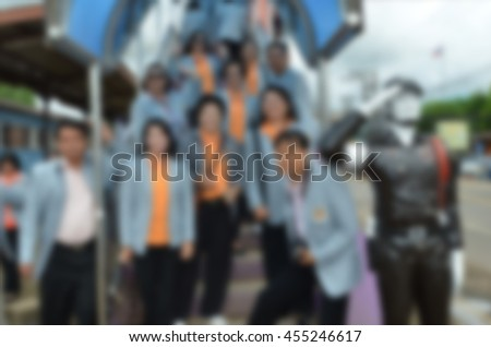 Blur image action of polite people at the down of overpass