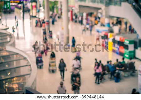 Blur image background of passing in airports.,vintage tone colour. - stock photo