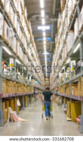 Blur image of a warehouse with multi layer shelves background