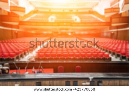 blur image of an old theater auditorium, interior - stock photo
