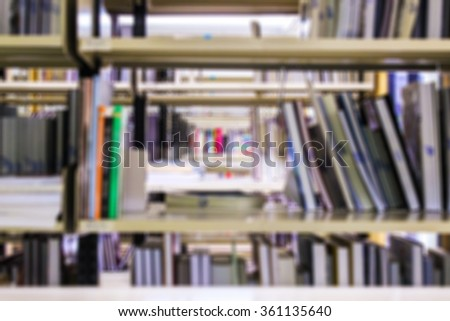 Blur image of Book on Library, Book shelf Knowledge and Research in Education  , Vintage color tone