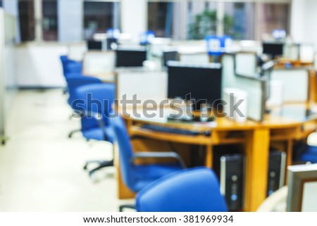 blur image of computer room  - stock photo