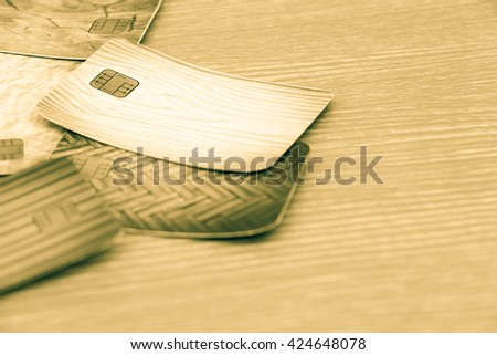 blur image of credit cards - stock photo