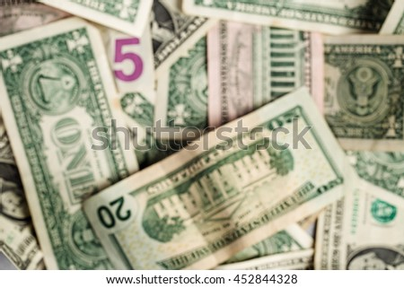 blur image of dollars banknotes. concepts of finance and business. - stock photo