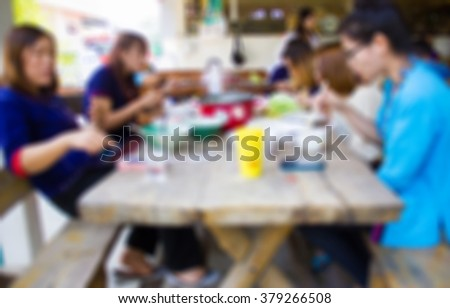 Blur image of eating among friends,use for background.